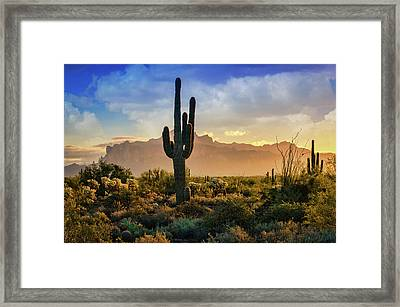 Framed Print featuring the photograph Saguaro Sunrise In The Superstitions  by Saija Lehtonen