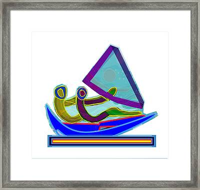 Sail Boat Couple Graphic Ditigal Abstract Painting Framed Print by Navin Joshi