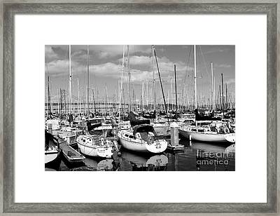 Sail Boats At San Francisco China Basin Pier 42 With The Bay Bridge In The Background . 7d7666 Framed Print by Wingsdomain Art and Photography