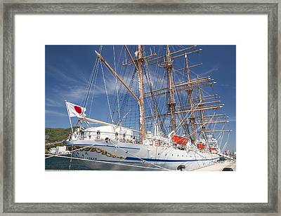 Framed Print featuring the photograph Sail Training Ship Nippon Maru by Aiolos Greek Collections