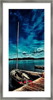 Sailboat At The Dock Framed Print