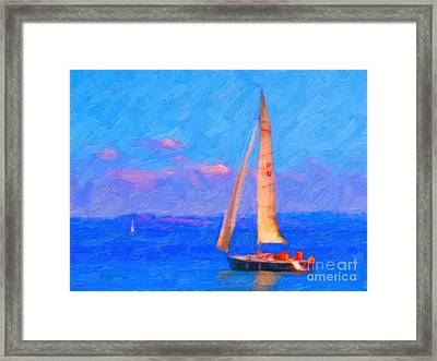 Sailing In The San Francisco Bay Framed Print by Wingsdomain Art and Photography