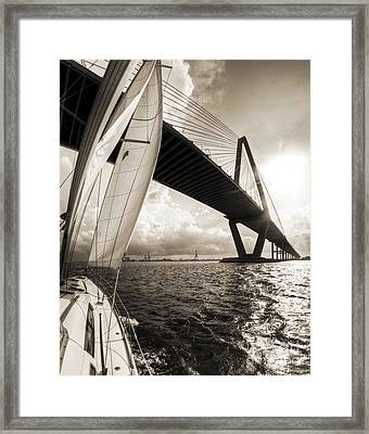 Sailing On The Charleston Harbor Beneteau Sailboat Framed Print