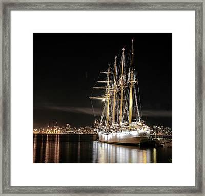 Sailing Ship At The Pier Framed Print by Alex Lyubar