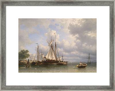 Sailing Ships In The Harbor Framed Print by Anthonie Waldorp