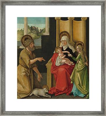 Saint Anne With The Christ Child - The Virgin And Saint John The Baptist Framed Print