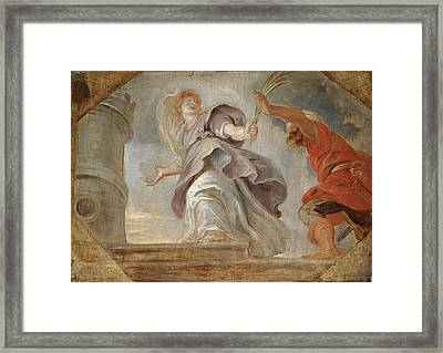 Saint Barbara Fleeing From Her Father Framed Print by Peter Paul Rubens