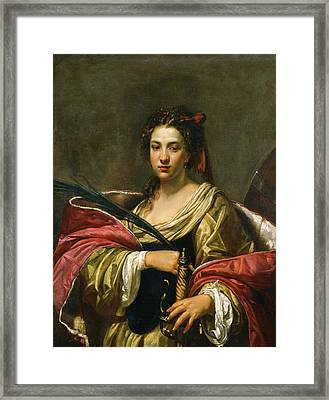 Saint Catherine Framed Print by Simon Vouet