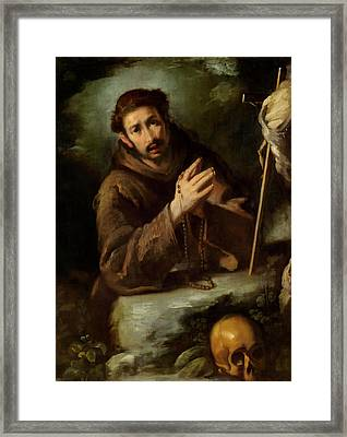 Saint Francis In Prayer Framed Print by Bernardo Strozzi