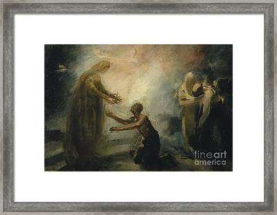 Saint Isabel Offering The Queen's Crown To A Beggar Framed Print by Celestial Images
