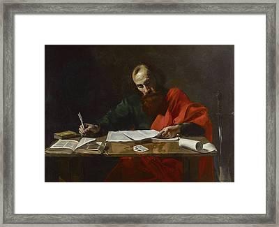 Saint Paul Writing His Epistles Framed Print