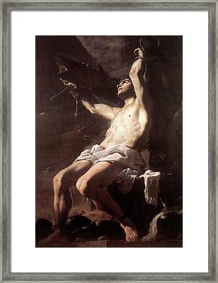 Saint Sebastian By Mattia Preti Framed Print