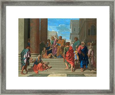 Saints Peter And John Healing The Lame Man Framed Print by Nicolas Poussin