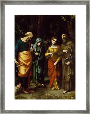 Saints Peter, Martha, Mary Magdalen, And Leonard Framed Print by Correggio