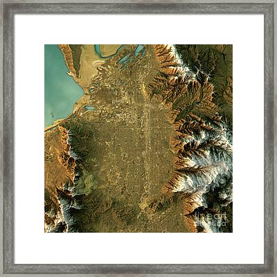 Salt Lake City Topographic Map Natural Color Top View Framed Print