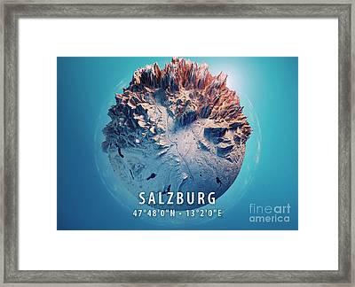 Salzburg 3d Little Planet 360-degree Sphere Panorama Blue Framed Print
