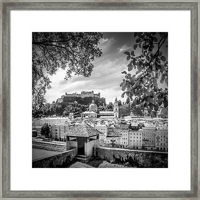 Salzburg Gorgeous Old Town With Citywall - Monochrome Framed Print by Melanie Viola