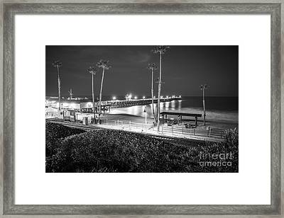 San Clemente Pier At Night Black And White Photo Framed Print