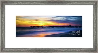 San Clemente Pier Sunset Panorama Photo Framed Print