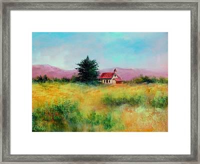 San Simeon School House Framed Print by Sally Seago
