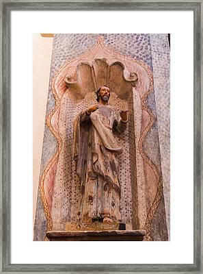 San Xavier Del Bac Mission - Interior Statue - Tucson Arizona Framed Print by Jon Berghoff