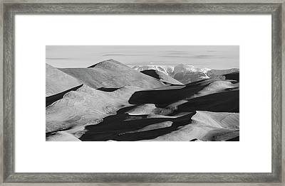Monochrome Sand Dunes And Rocky Mountains Panorama Framed Print by James BO Insogna