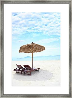 Sandy Tropical Beach Framed Print by MotHaiBaPhoto Prints