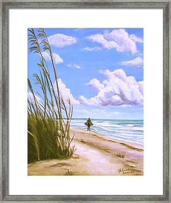 Framed Print featuring the painting Sanibel Surfer  by Melinda Saminski