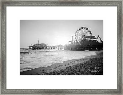 Santa Monica Pier Black And White Picture Framed Print by Paul Velgos