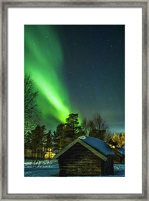 Sapmi Village Under The Northern Lights Karasjok Norway Framed Print