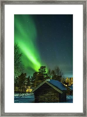 Sapmi Village Under The Northern Lights Karasjok Norway Framed Print