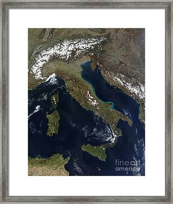 Satellite View Of Italy Framed Print