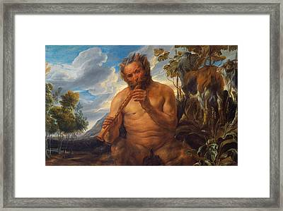 Satyr Playing The Pipe Framed Print by Jacob Jordaens