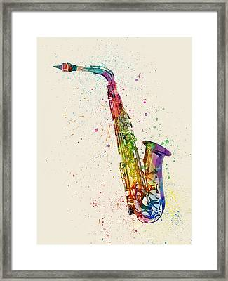 Saxophone Abstract Watercolor Framed Print by Michael Tompsett