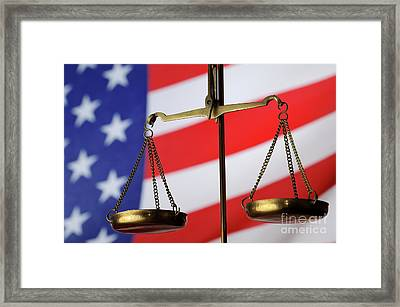 Scales Of Justice And American Flag Framed Print by Sami Sarkis