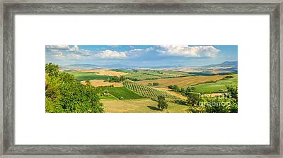 Scenic Tuscany Landscape At Sunset, Val D'orcia, Italy Framed Print by JR Photography