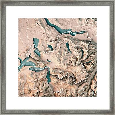 Schwyz Canton Switzerland 3d Render Topographic Map Neutral Bord Framed Print