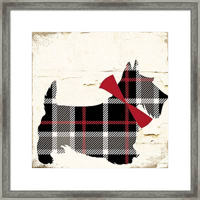 Scottish Terrier Tartan Plaid Framed Print