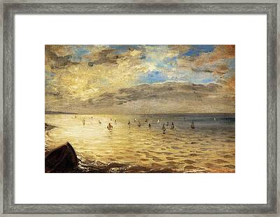 Sea Viewed From The Heights Of Dieppe Framed Print by Eugene Delacroix
