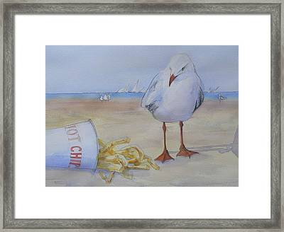 Seagull And Hot Chips Framed Print by Tony Northover