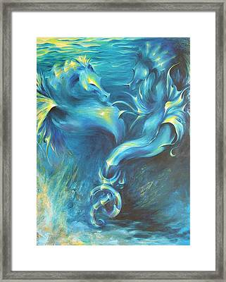 Framed Print featuring the painting Seahorses In Love 3 by Dina Dargo