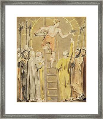 Sealing The Stone And Setting A Watch Framed Print by William Blake