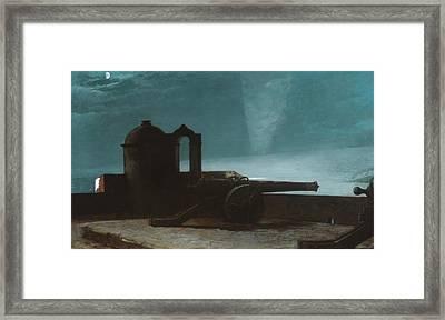 Searchlight On Harbor Entrance, Santiago De Cuba Framed Print by Winslow Homer