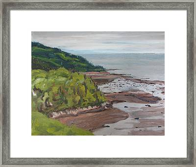 Seascape Oil Painting The Dunestadoussac Quebec Canada Framed Print