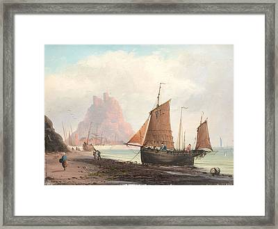 Seascape With Boats On A Beach Framed Print by MotionAge Designs