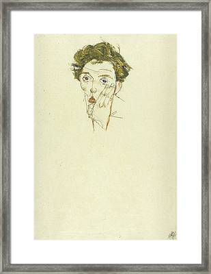 Self Portrait Framed Print by Egon Schiele