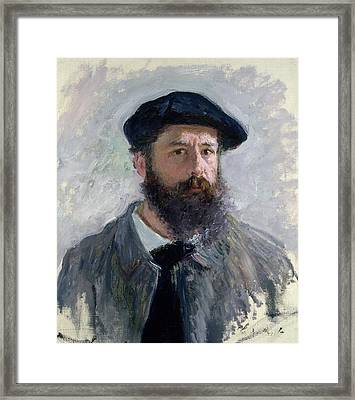 Self Portrait With A Beret Framed Print by Claude Monet