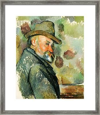 Self Portrait With A Hat Framed Print by Paul Cezanne