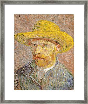Self-portrait With A Straw Hat Framed Print