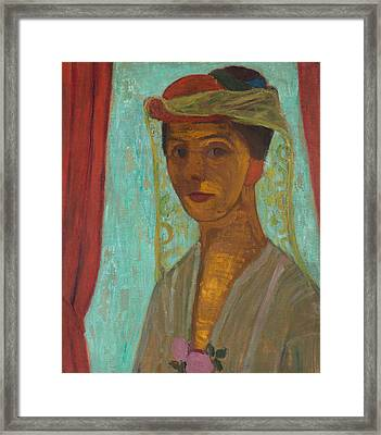Self-portrait With Hat And Veil Framed Print